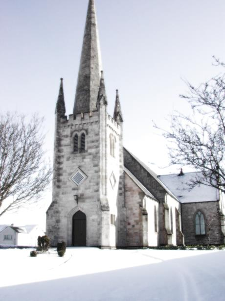 Photo of the John Nash Church covered with snow circa 2004